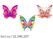 Купить «Набор красивых красочных бабочек на белом фоне. Иллюстрация насекомых с крыльями изолировано.», иллюстрация № 32340297 (c) Дорощенко Элла / Фотобанк Лори