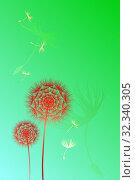 Купить «Иллюстрация красных одуванчиков с летящими семенами на зеленом фоне. Поздравительная цветочная открытка с растительными узорами», иллюстрация № 32340305 (c) Дорощенко Элла / Фотобанк Лори