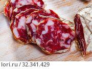 Купить «Spicy Salami sausage», фото № 32341429, снято 18 ноября 2019 г. (c) Яков Филимонов / Фотобанк Лори