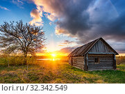 Купить «Colorful sunset in a countryside», фото № 32342549, снято 3 мая 2019 г. (c) Sergey Borisov / Фотобанк Лори