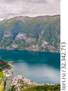 Купить «Aurland Village and Aurlandsfjord seen from Stegastein Overlook, The West Norwegian Fjords, Norway», фото № 32342713, снято 7 декабря 2019 г. (c) Николай Коржов / Фотобанк Лори