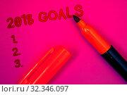 Купить «Conceptual hand writing showing 2018 Goals 1. 2. 3.Business photo text Resolution Organize Beginnings Future Plans Magenta color platform dark red color tidings corner red marker», фото № 32346097, снято 18 ноября 2019 г. (c) easy Fotostock / Фотобанк Лори