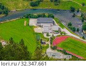 Купить «Aurland Villageseen from Stegastein Overlook, The West Norwegian Fjords, Norway», фото № 32347661, снято 7 декабря 2019 г. (c) Николай Коржов / Фотобанк Лори