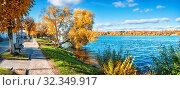 Берег Волги в Плесе Volga River in the city of Plyos (2019 год). Стоковое фото, фотограф Baturina Yuliya / Фотобанк Лори