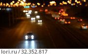 Купить «Night Car traffic highway city», видеоролик № 32352817, снято 1 июля 2018 г. (c) Mikhail Erguine / Фотобанк Лори