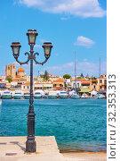 Купить «Port and waterfront in Aegina town», фото № 32353313, снято 13 сентября 2019 г. (c) Роман Сигаев / Фотобанк Лори