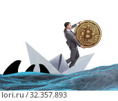 Купить «Businessman rowing on dollar boat in business financial concept», фото № 32357893, снято 5 июля 2020 г. (c) Elnur / Фотобанк Лори