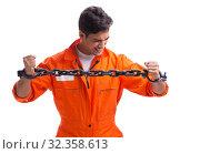 Купить «Prisoner with his hands chained isolated on white background», фото № 32358613, снято 18 августа 2017 г. (c) Elnur / Фотобанк Лори
