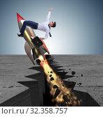 Купить «Businessman flying on rocket from rock gap», фото № 32358757, снято 5 июня 2020 г. (c) Elnur / Фотобанк Лори