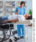 Купить «Patient undergoing rehabilitation recovery programme with doctor», фото № 32359065, снято 18 апреля 2017 г. (c) Elnur / Фотобанк Лори