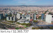 Купить «Panoramic view from the drone of residential area Diagonal Mar. Barcelona. Spain», видеоролик № 32365737, снято 4 октября 2019 г. (c) Яков Филимонов / Фотобанк Лори