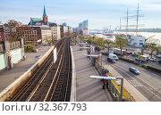 Купить «Hamburg cityscape with railroad», фото № 32367793, снято 30 ноября 2018 г. (c) EugeneSergeev / Фотобанк Лори