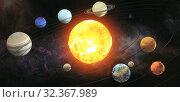 Купить «Solar system scheme. The sun with orbits of planets on the Universe star background. Elements of this image furnished by NASA», фото № 32367989, снято 20 ноября 2019 г. (c) Maksym Yemelyanov / Фотобанк Лори