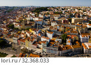 Panorama of Lisbon old center (2019 год). Стоковое фото, фотограф Яков Филимонов / Фотобанк Лори