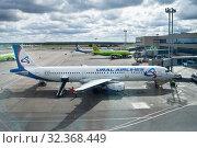 Купить «Самолеты авиакомпании Ural Airlines в аэропорту города Москва, Россия», фото № 32368449, снято 15 сентября 2019 г. (c) Victoria Demidova / Фотобанк Лори