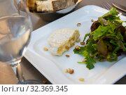 Купить «Cheese Saint Marcellin with pine nuts», фото № 32369345, снято 12 октября 2018 г. (c) Яков Филимонов / Фотобанк Лори