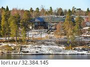 Купить «Buildings on island of Stockholm archipelago in Baltic Sea. Spring landscape», фото № 32384145, снято 27 марта 2018 г. (c) Валерия Попова / Фотобанк Лори
