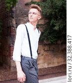 Купить «man posing in gothic quarter of Barcelona», фото № 32388417, снято 27 июня 2018 г. (c) Татьяна Яцевич / Фотобанк Лори