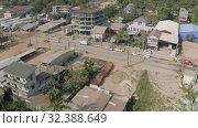 Купить «Sihanoukville city in Cambodia drone shot 4K», видеоролик № 32388649, снято 25 октября 2019 г. (c) Aleksejs Bergmanis / Фотобанк Лори