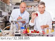 Купить «Scientists taking notes while checking agricultural products», фото № 32388885, снято 24 января 2019 г. (c) Яков Филимонов / Фотобанк Лори