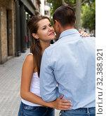 Купить «Couple hugging during riding together kick scooter in city center», фото № 32388921, снято 13 августа 2019 г. (c) Яков Филимонов / Фотобанк Лори
