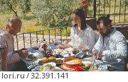 Купить «Joyful meeting of friends near the summer farm», видеоролик № 32391141, снято 26 апреля 2019 г. (c) Яков Филимонов / Фотобанк Лори