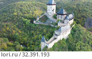 Купить «View of medieval castle Karlstejn Castle. Czech Republic», видеоролик № 32391193, снято 10 октября 2019 г. (c) Яков Филимонов / Фотобанк Лори