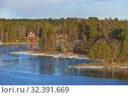 Купить «Stockholm archipelago, largest archipelago in Sweden, in Baltic Sea. Bright beautiful sunny spring day», фото № 32391669, снято 27 марта 2018 г. (c) Валерия Попова / Фотобанк Лори