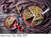 Купить «savory sliced quiche with greens, heavy cream», фото № 32396397, снято 8 сентября 2019 г. (c) Oksana Zh / Фотобанк Лори