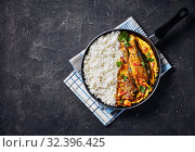 Купить «Yellow curry, Panang curry with Grilled Saba fish», фото № 32396425, снято 11 сентября 2019 г. (c) Oksana Zh / Фотобанк Лори