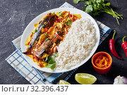 Купить «Yellow curry, Panang curry with Grilled Saba fish», фото № 32396437, снято 11 сентября 2019 г. (c) Oksana Zh / Фотобанк Лори