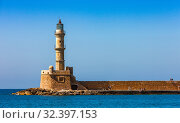 Old Venetian lighthouse in Chania on the island of Crete, Greece (2019 год). Стоковое фото, фотограф photoff / Фотобанк Лори