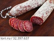 Купить «Air-dried Spanish sausage Longaniza», фото № 32397637, снято 20 ноября 2019 г. (c) Яков Филимонов / Фотобанк Лори
