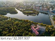 Москва, вид сверху на Тимирязевский парк и Большой Садовый пруд (2019 год). Стоковое фото, фотограф glokaya_kuzdra / Фотобанк Лори