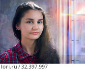 Купить «Portrait of a girl of unusual appearance. Young girl Oriental beauty», фото № 32397997, снято 15 ноября 2019 г. (c) Ирина Козорог / Фотобанк Лори