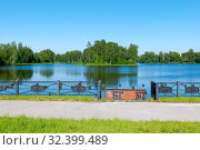 Охтинское водохранилище, образованное в 1716 году для нужд порохового завода. Санкт-Петербург (2019 год). Редакционное фото, фотограф Румянцева Наталия / Фотобанк Лори