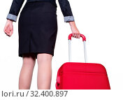 Einen Geschäftsfrau mit einem roten Koffer als Handgepäck. Стоковое фото, фотограф Zoonar.com/Erwin Wodicka / age Fotostock / Фотобанк Лори