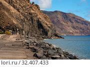 Breakwater rocky volcanic mountains and Atlantic Ocean view, Tenerife, Canary Islands, Spain (2019 год). Стоковое фото, фотограф Alexander Tihonovs / Фотобанк Лори