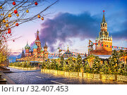 Москва. Праздник на Красной площади. New Year holiday on the Red Square (2018 год). Стоковое фото, фотограф Baturina Yuliya / Фотобанк Лори