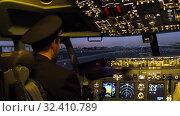 Купить «Civil aircraft cockpit.», видеоролик № 32410789, снято 10 апреля 2019 г. (c) Игорь Жоров / Фотобанк Лори