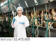 Купить «Woman with fresh milk standing near automatical cow milking machines», фото № 32415605, снято 13 декабря 2019 г. (c) Яков Филимонов / Фотобанк Лори