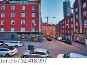 Купить «The western tower of Norra Torren rises above the Stockholm district of Vasastaden part of Norrmalm, Stockholm, Sweden. The western tower was completed...», фото № 32418997, снято 4 апреля 2019 г. (c) age Fotostock / Фотобанк Лори