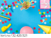 Купить «pink birthday gift and party props», фото № 32420521, снято 11 декабря 2018 г. (c) Syda Productions / Фотобанк Лори