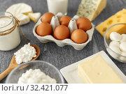 Купить «milk, yogurt, eggs, cottage cheese and butter», фото № 32421077, снято 16 августа 2018 г. (c) Syda Productions / Фотобанк Лори