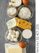 Купить «milk, yogurt, eggs, cottage cheese and butter», фото № 32421233, снято 16 августа 2018 г. (c) Syda Productions / Фотобанк Лори
