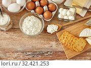 Купить «cottage cheese, crackers, eggs, yogurt and butter», фото № 32421253, снято 16 августа 2018 г. (c) Syda Productions / Фотобанк Лори