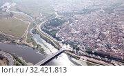 Купить «Aerial panoramic view of modern cityscape of Badajoz with Guadiana river, Spain», видеоролик № 32421813, снято 22 апреля 2019 г. (c) Яков Филимонов / Фотобанк Лори