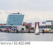 View at the city Kiel, the harbor and the coastline,  North Germany. Редакционное фото, фотограф Николай Коржов / Фотобанк Лори