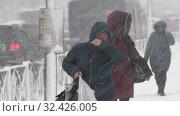 Купить «Woman in black jacket walking on sidewalk during snowfall, Pacific snow cyclone», видеоролик № 32426005, снято 15 ноября 2019 г. (c) А. А. Пирагис / Фотобанк Лори