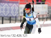 Купить «Korean sportswoman biathlete Lee Hyunju (South Korea) skiing at finish», фото № 32426121, снято 12 апреля 2019 г. (c) А. А. Пирагис / Фотобанк Лори